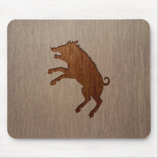 Wild boar engraved on wood design mouse pad