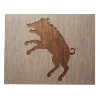 Wild boar engraved on wood design notepad