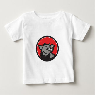 Wild Boar Head Angry Looking Up Circle Retro Baby T-Shirt
