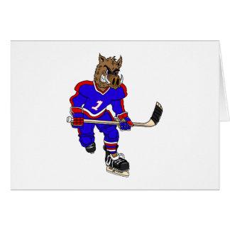 Wild Boar Hockey Player Greeting Card
