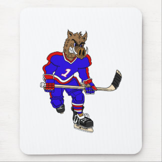 Wild Boar Hockey Player Mouse Pad