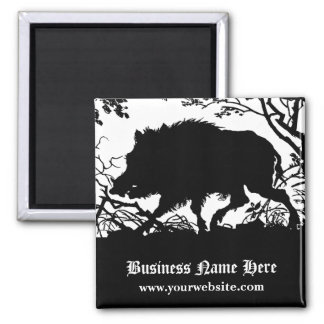 Wild Boar in a Forest - Antique German Silhouette Magnet