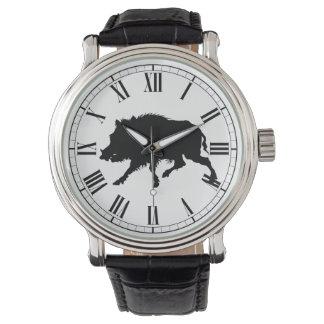 Wild Boar in Black Silhouette Hunting Man's Watch