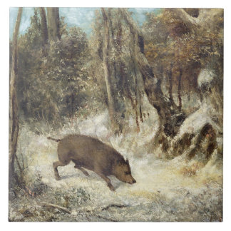 Wild Boar in the Snow, signed as Courbet (fake) Ceramic Tile