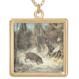 Wild Boar in the Snow, signed as Courbet (fake) Gold Plated Necklace
