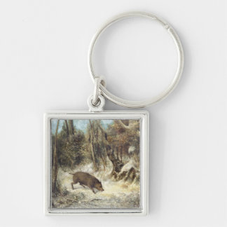 Wild Boar in the Snow, signed as Courbet (fake) Key Chains
