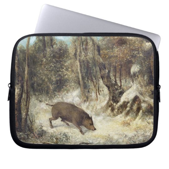 Wild Boar in the Snow, signed as Courbet (fake) Laptop Sleeve