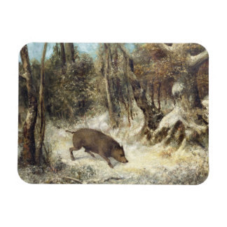 Wild Boar in the Snow, signed as Courbet (fake) Magnet