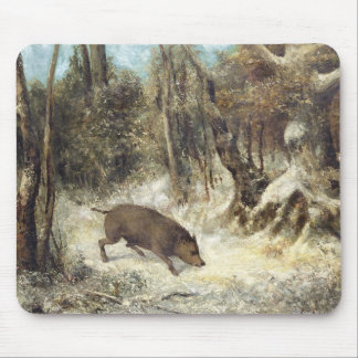 Wild Boar in the Snow, signed as Courbet (fake) Mouse Pad