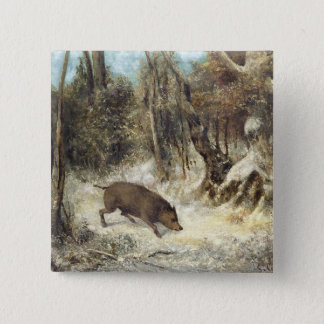 Wild Boar in the Snow, signed as Courbet (fake) Pinback Button