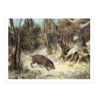 Wild Boar in the Snow, signed as Courbet (fake) Postcards