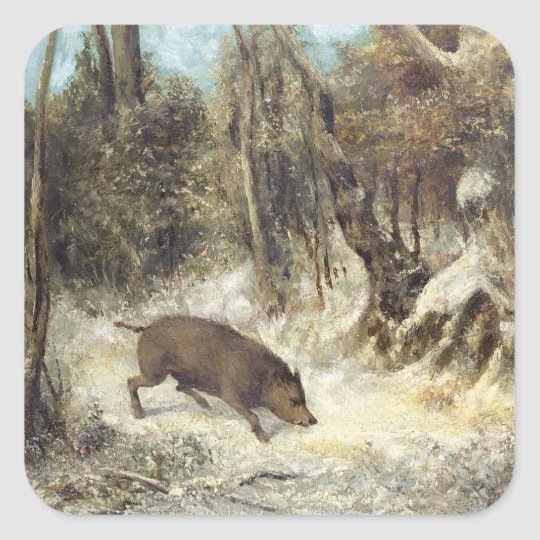Wild Boar in the Snow, signed as Courbet (fake) Square Sticker