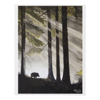 Wild Boar in the Woods Panel Wall Art