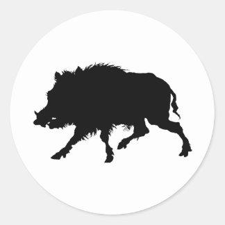 Wild Boar or Wild Pig Elegant Silhouette Classic Round Sticker