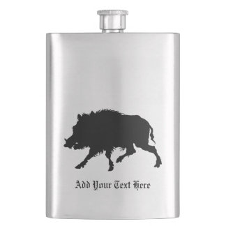 Wild Boar or Wild Pig Elegant Silhouette Flask