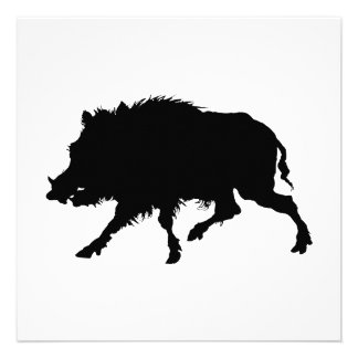 Wild Boar or Wild Pig Elegant Silhouette Custom Invitations