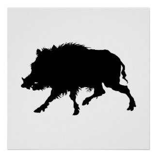 Wild Boar or Wild Pig Elegant Silhouette Posters