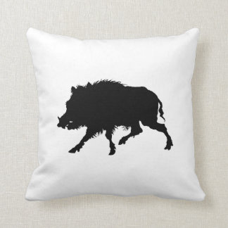 Wild Boar or Wild Pig Elegant Silhouette Throw Pillow