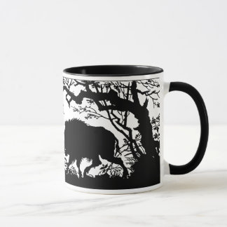 Wild Boar Rooting in a Forest - German Silhouette Mug