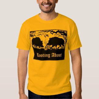 Wild Boar Rooting Old German Design Front & Back T-shirt