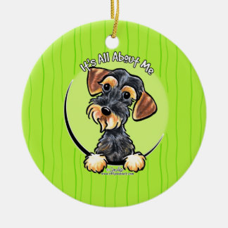 Wild Boar Wirehaired Dachshund IAAM Ceramic Ornament