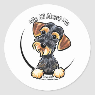 Wild Boar Wirehaired Dachshund Its All About Me Classic Round Sticker