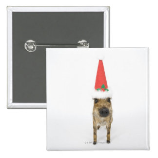 Wild boar with Christmas hat Button