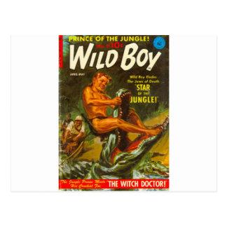 Wild boy Wrestles a Crocodile Postcard