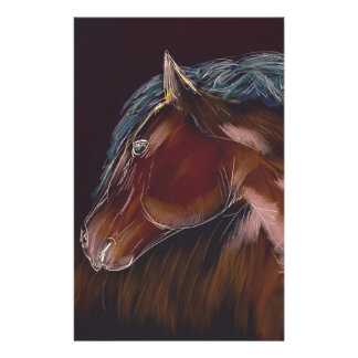 Wild Brown Horse Sketch with White Outlines Stationery