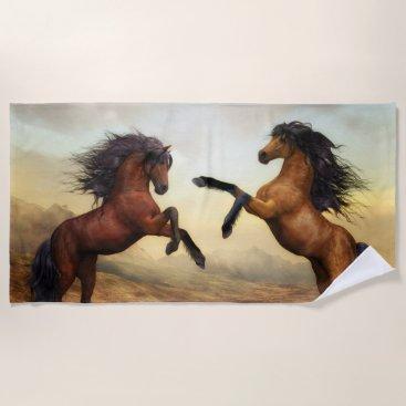 Beach Themed Wild Brown Horses Beach Towel
