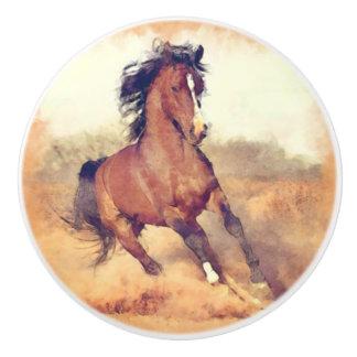 Wild Brown Mustang Horse Watercolor Painting Ceramic Knob