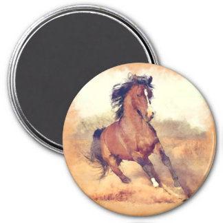 Wild Brown Mustang Horse Watercolor Painting Magnet