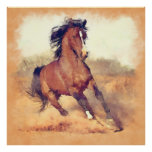 Wild Brown Mustang Horse Watercolor Painting Poster