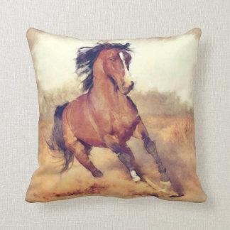 Wild Brown Mustang Horse Watercolor Painting Throw Pillow
