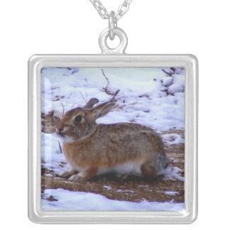 Wild Bunny Rabbit Square Pendant Necklace