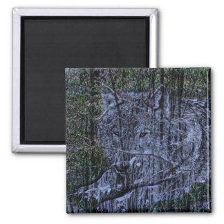 Wild camouflage woodland wildlife Grey wolf Magnet