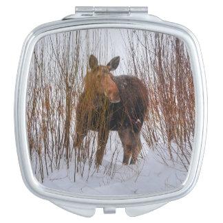 Wild Canadian Moose in Winter Snow VI Makeup Mirror