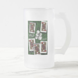 Wild Card Frosted Glass Beer Mug
