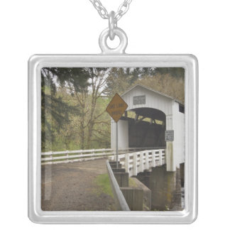 Wild Cat covered bridge, Lane County, Oregon 2 Silver Plated Necklace