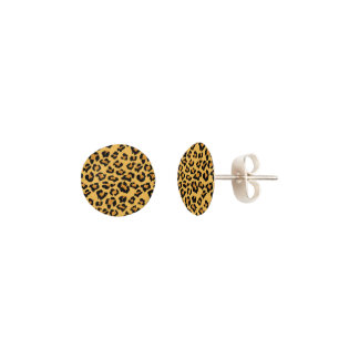 Wild Cat Leopard Print Faux Animal Fur Pattern Earrings