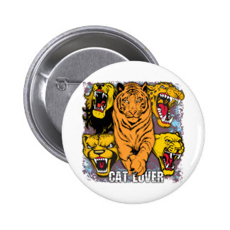 Wild Cat Lover Pinback Buttons