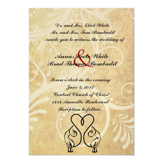 Wild Cat Lovers Black and Gold Wedding Invitation