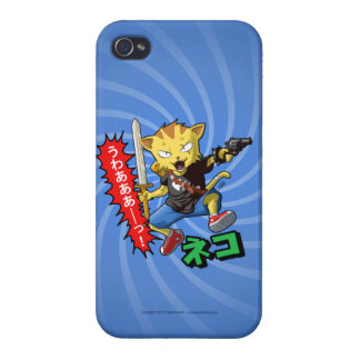 Wild Cat with Gun and Sword and Blue Swirl Cases For iPhone 4