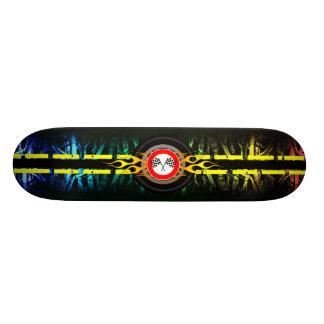 Wild Checker Stripe Flames Skateboard