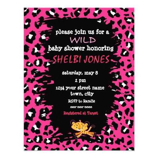 cheetah print baby shower invitations baby cheetah pretty animal print