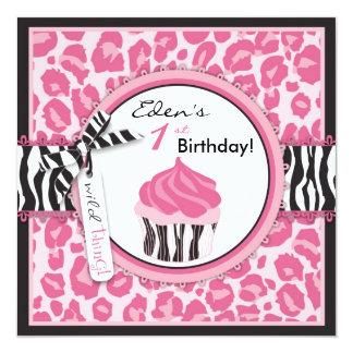 Wild Cheetah Print & Cupcake Pink Birthday Custom Invites