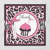 Wild Cheetah Print & Cupcake Thank You
