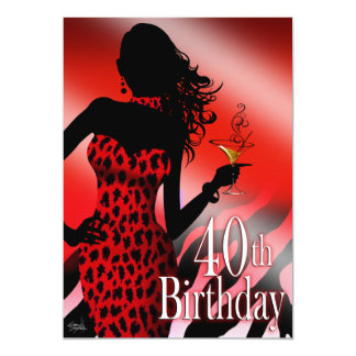 Wild Cherry Leopard Zebra Bombshell 40th Birthday Card