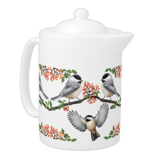 Wild Chickadees with Red Berries Teapots