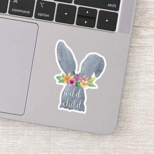 Wild Child | Cute Bunny Ears Flower Crown Quote Sticker